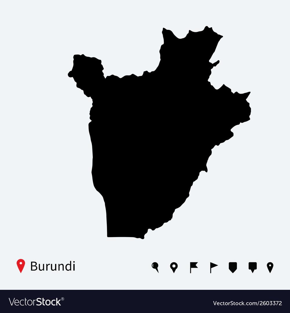 High detailed map of Burundi with navigation pins
