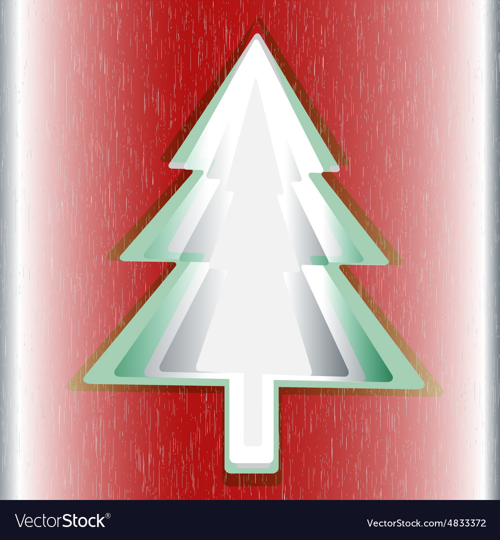 Red background green Christmas tree
