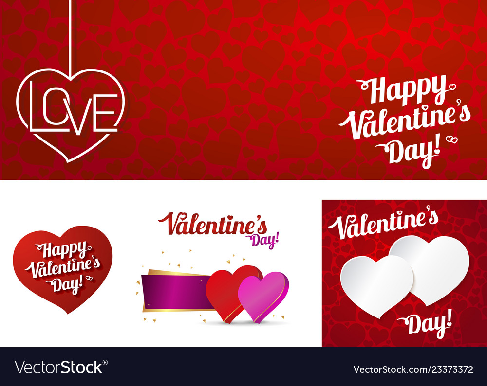 Set card happy valentines day or weeding
