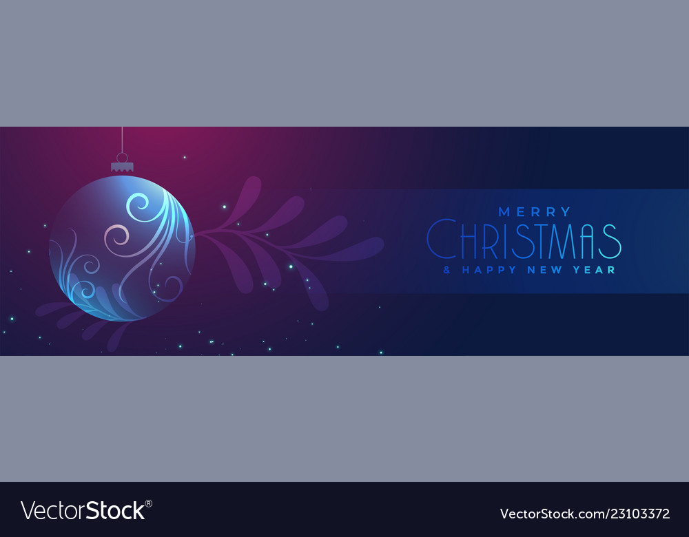Shiny christmas floral glass ball banner design
