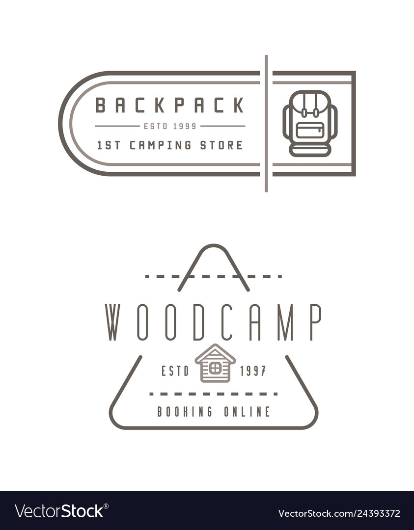 Summer camp backpack wood house concept for