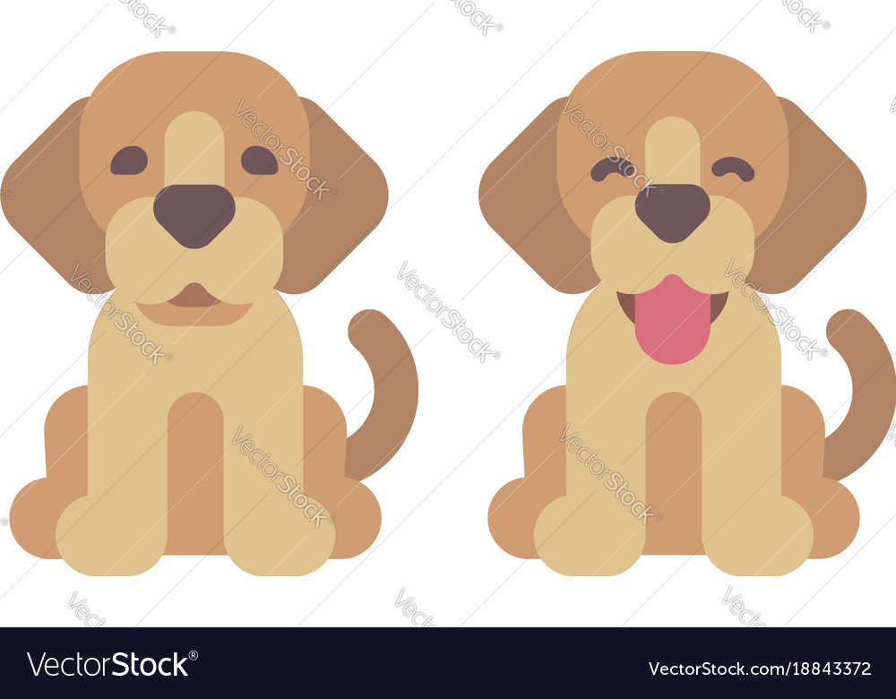 Two happy puppies flat cute pets icons