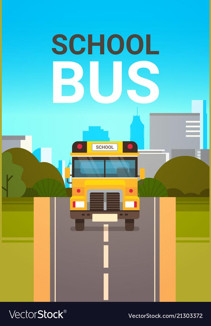 Yellow school bus front view pupils transport