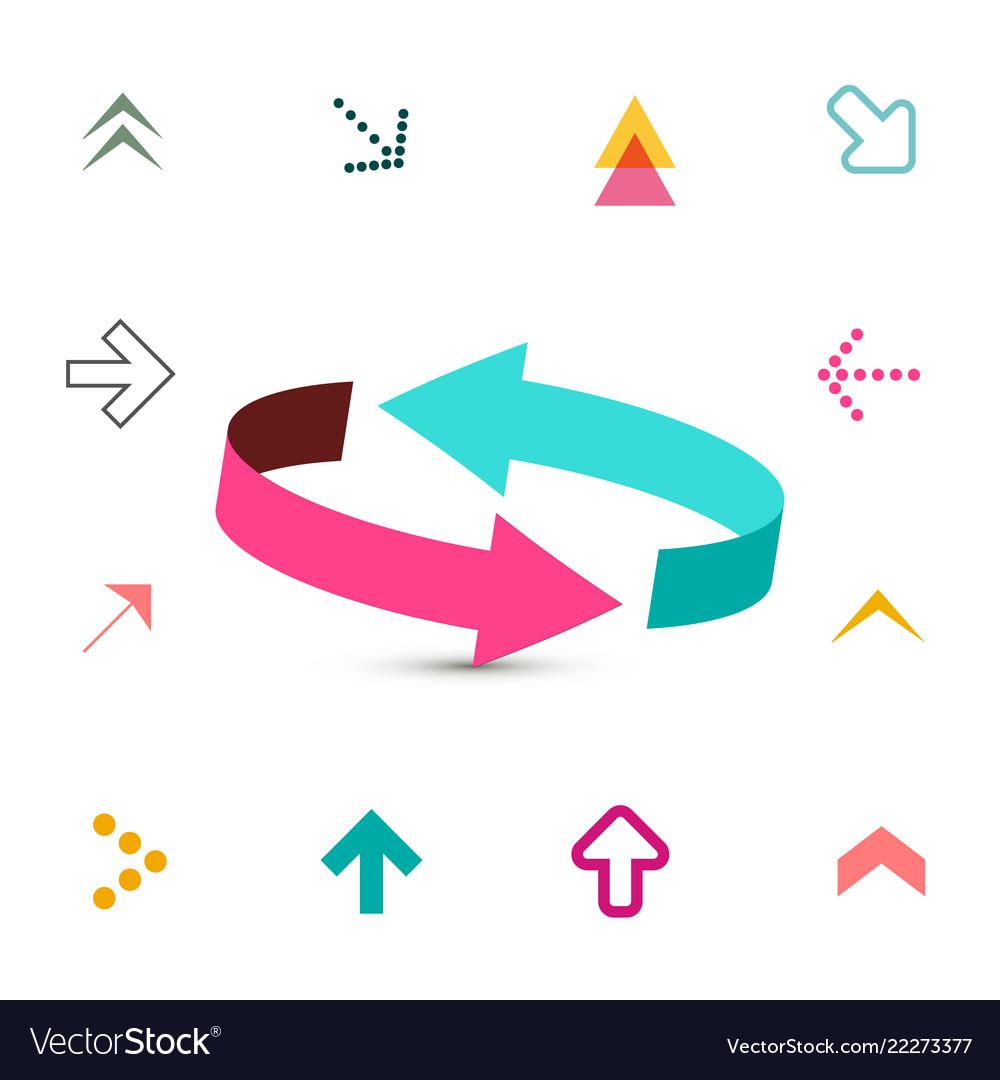 Arrow symbols collection 3d and flat arrows set