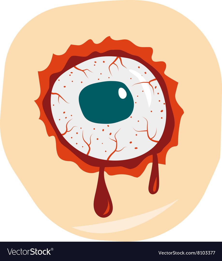 Cartoon doodle zombie eyes demon blood vector image