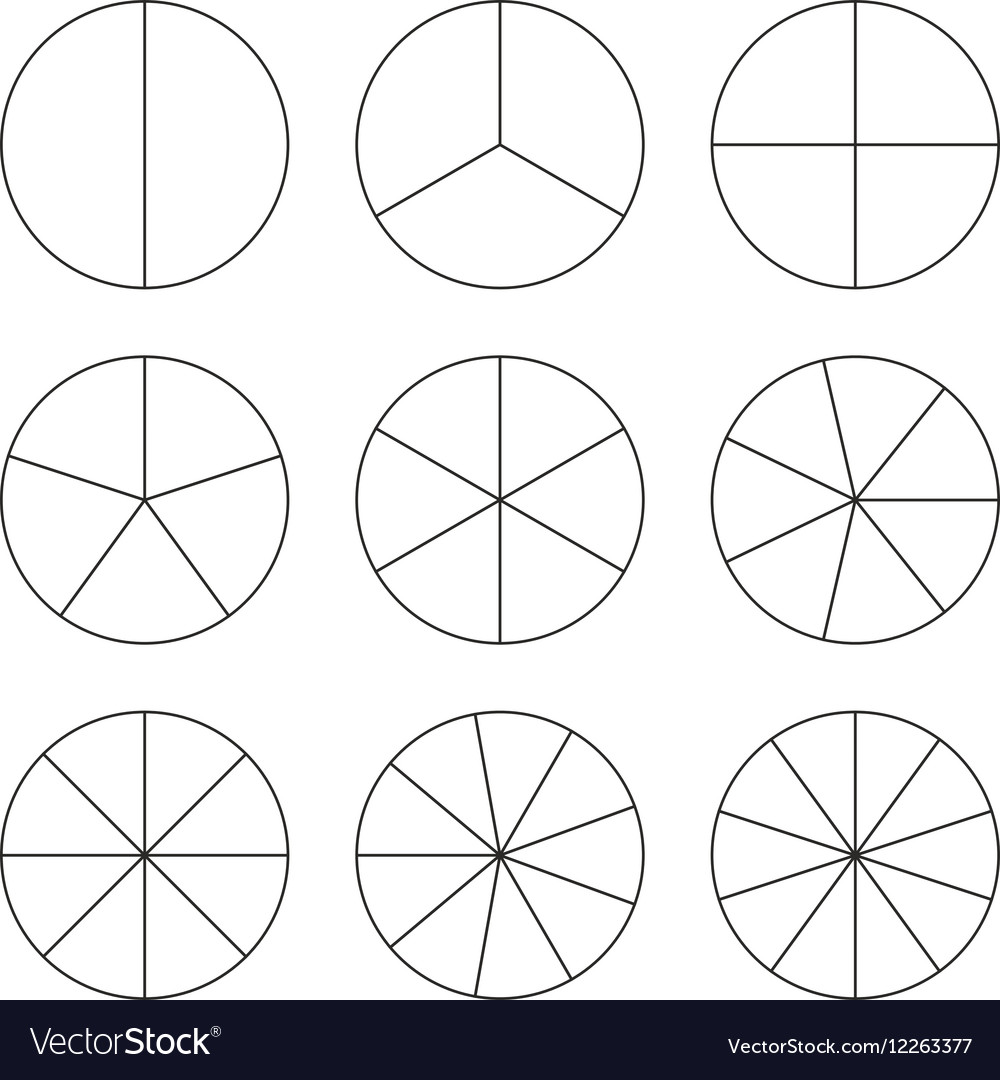 Circle segments set Black thin outline vector image