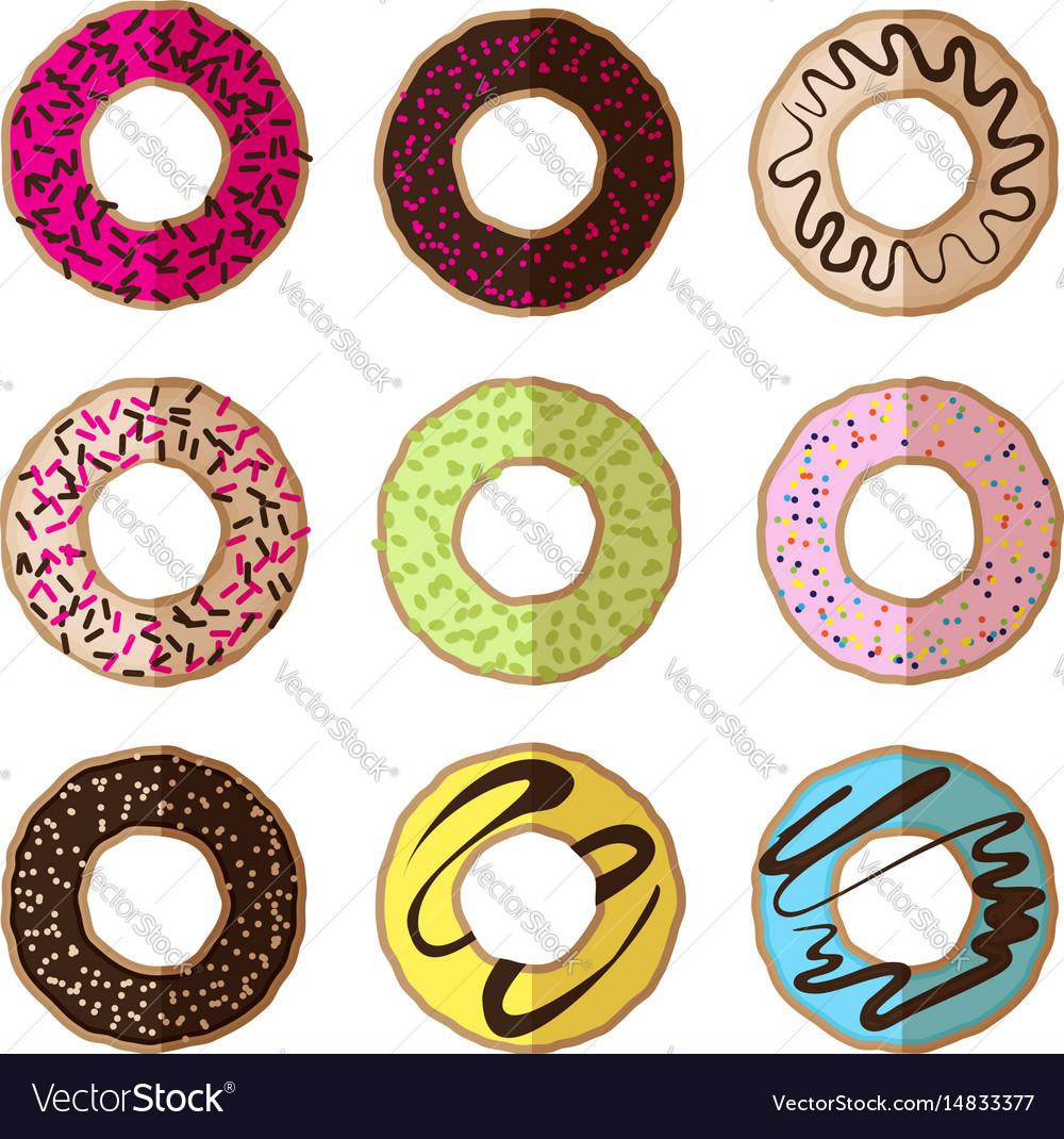 Donut minimalistic flat set