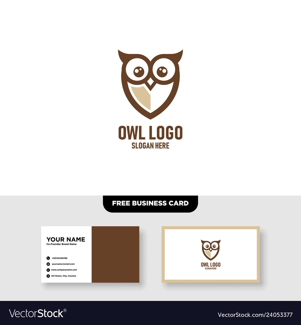 Owl logo template free business card mockup