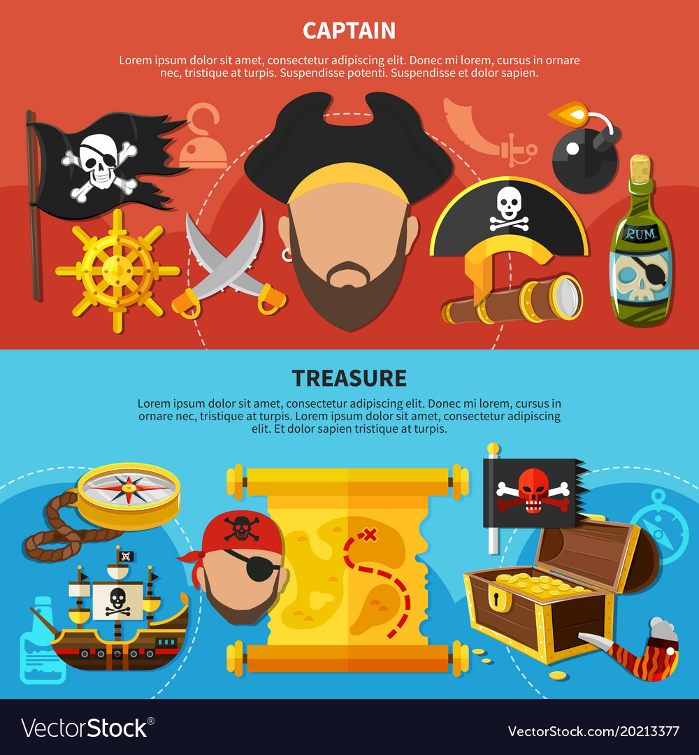 Pirate captain cartoon banners