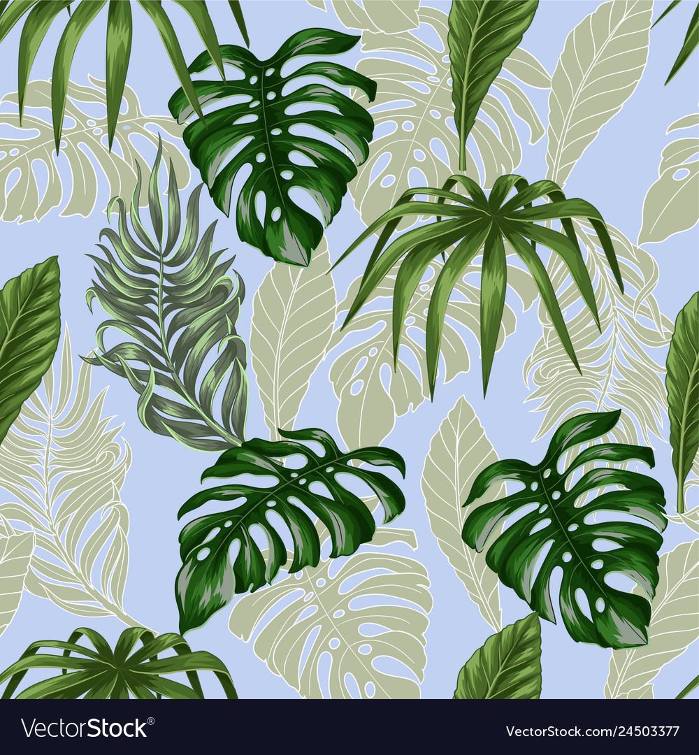 Seamless pattern with tropical banana palm