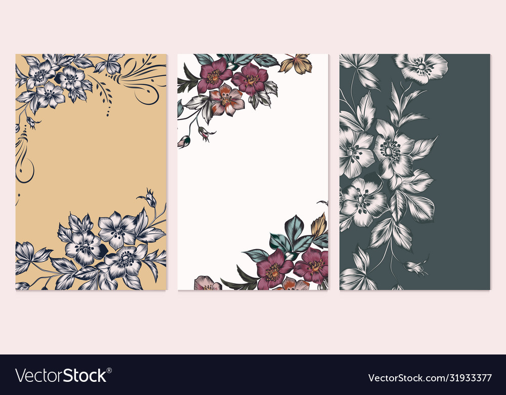 Set card with elegant flowers leaves wedding