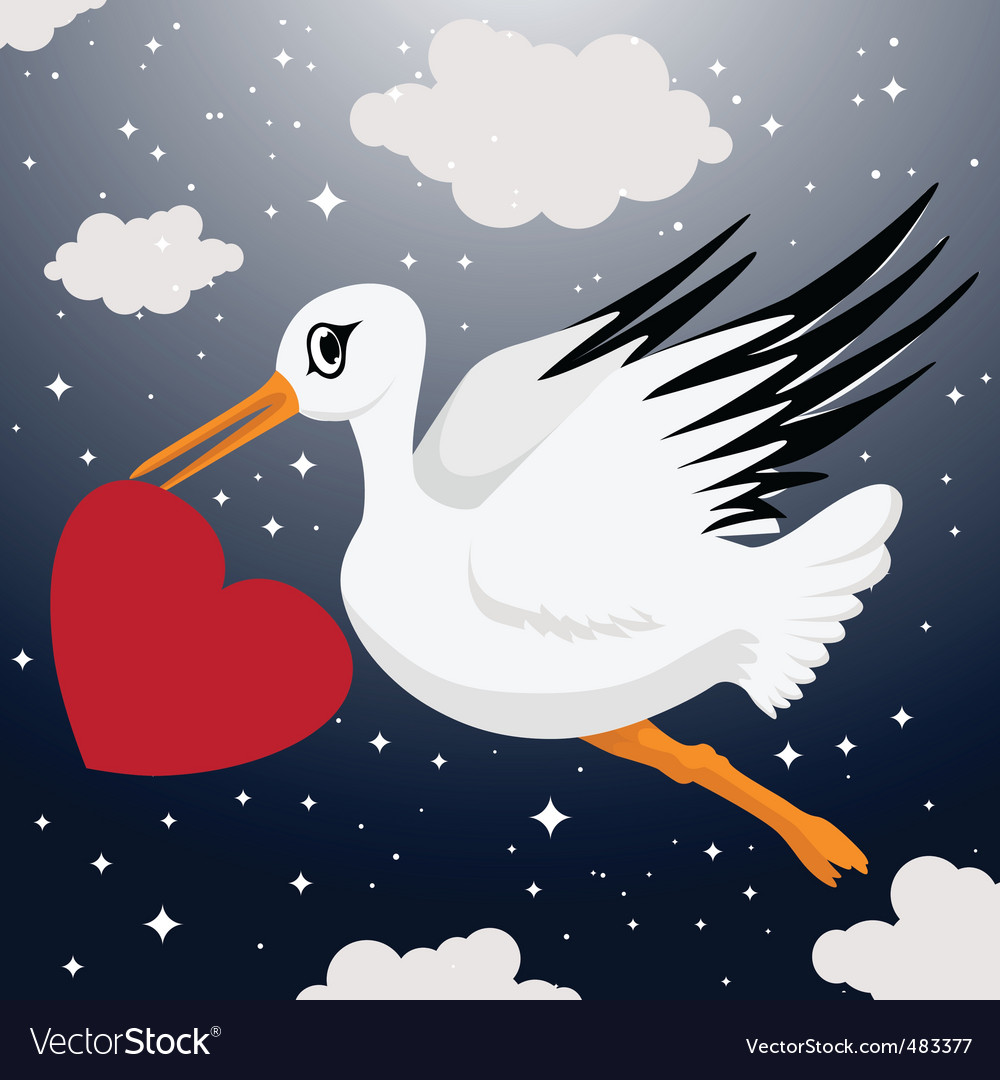 Stork with heart symbol
