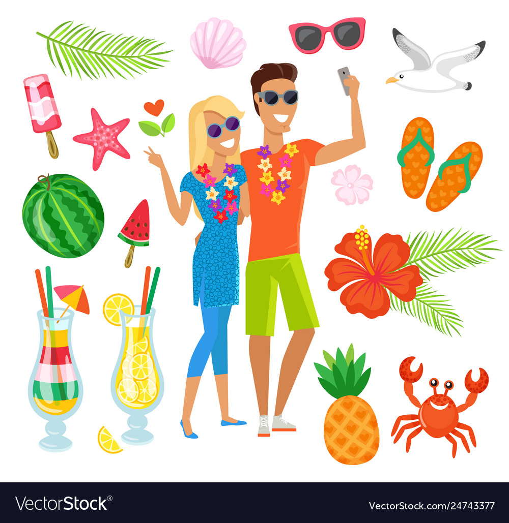 Travelers couple animals and fruits vacation set