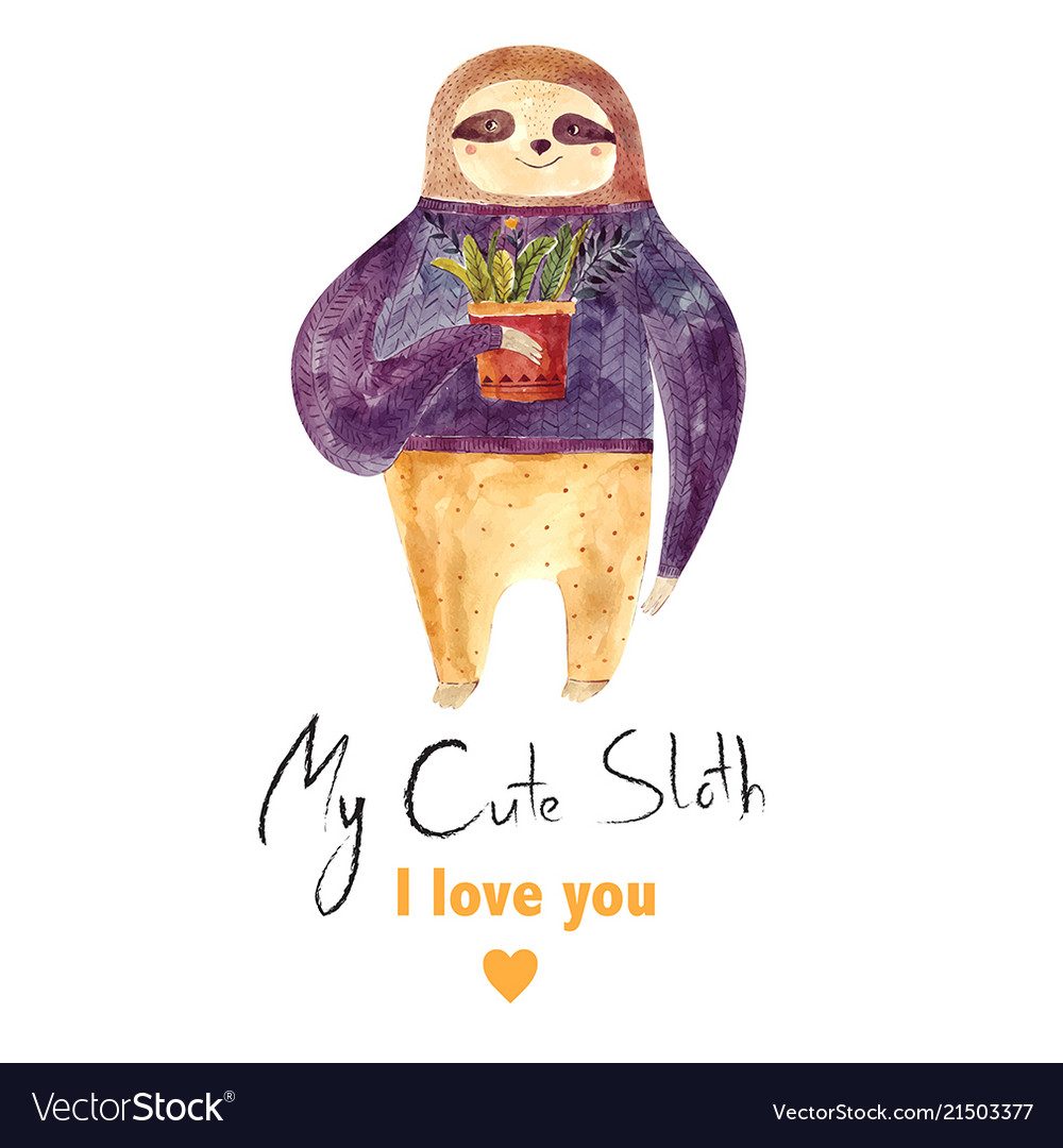 Watercolor with cute sloth