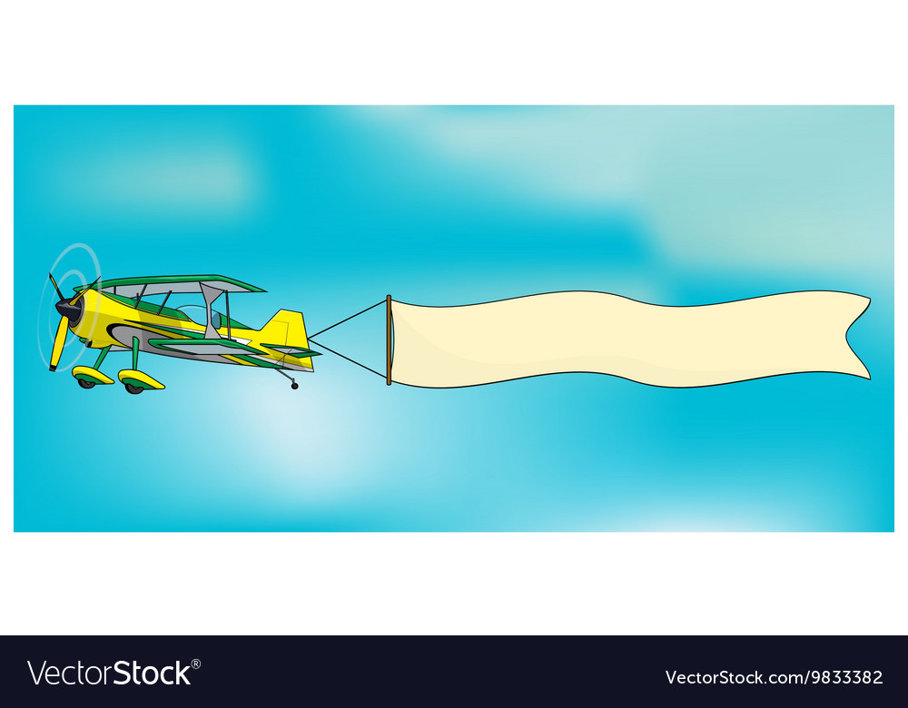 Biplane aircraft pulling advertisement banner vector image