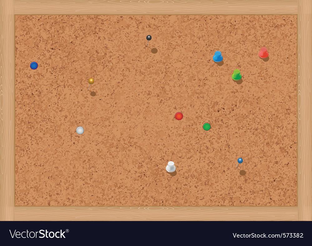 Blank cork notice board with thumbtacks