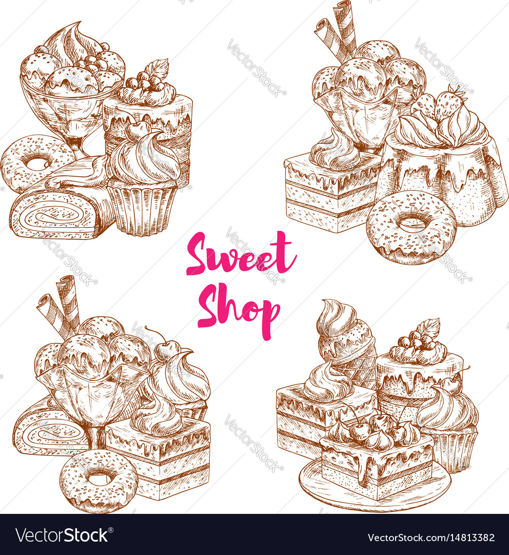 Cake And Ice Cream Dessert Sketch For Food Design Vector Image