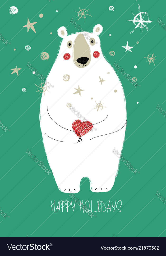 Christmas Wishes Bear.Christmas Greeting Card With Funny Bear