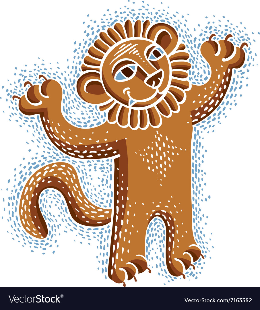 Drawing of happy orange lion holding its paws up