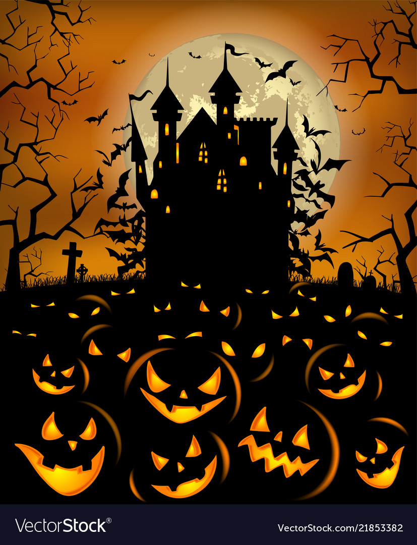 Halloween background with scary pumpkins and
