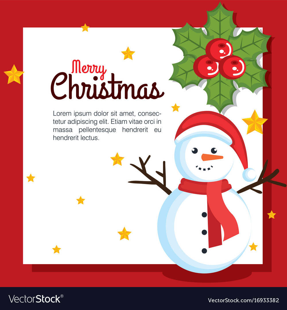 Merry christmas happy snowman with gift box