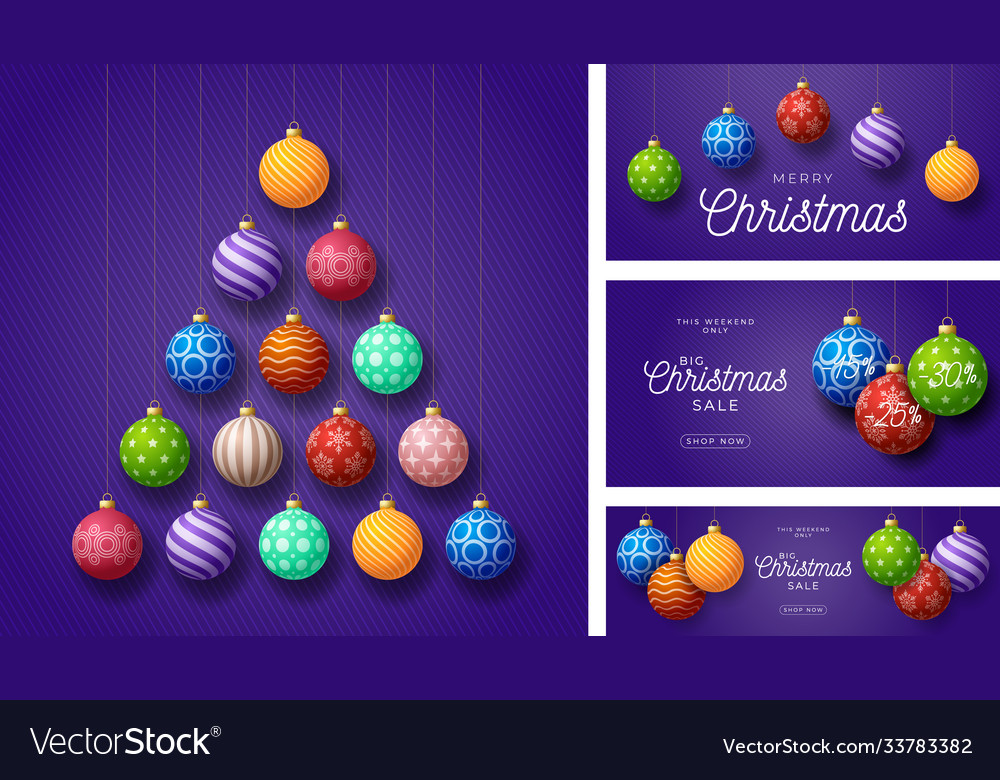 Set christmas and new year greeting cards