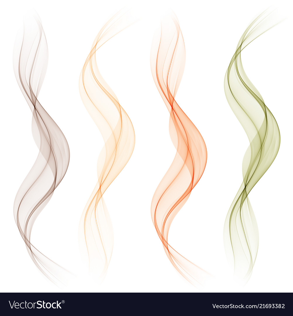 Set of abstract color wave smoke transparent wavy
