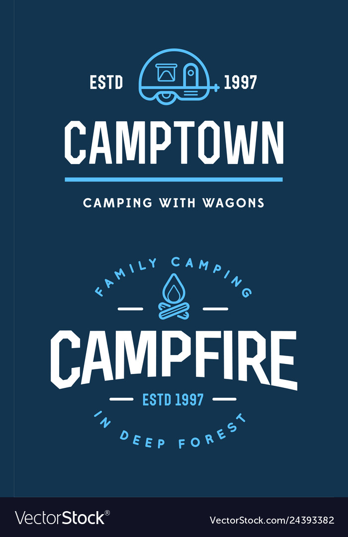 Set of camp logo with campfire and family trailer
