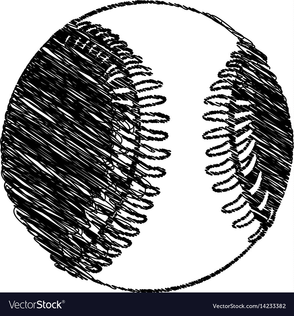 Silhouette drawing baseball ball element sport vector image