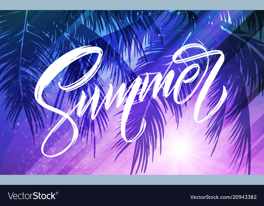 Summer lettering palm leaf and sea background