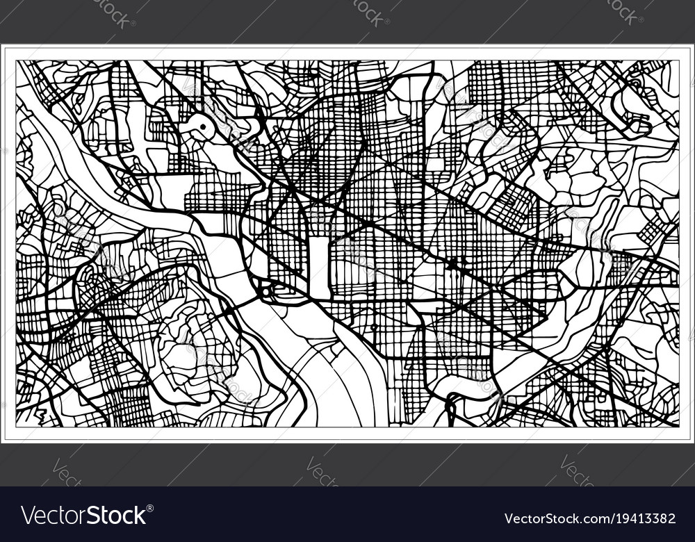 Washington Dc Map Download.Washington Dc Usa Map In Black And White Color Vector Image