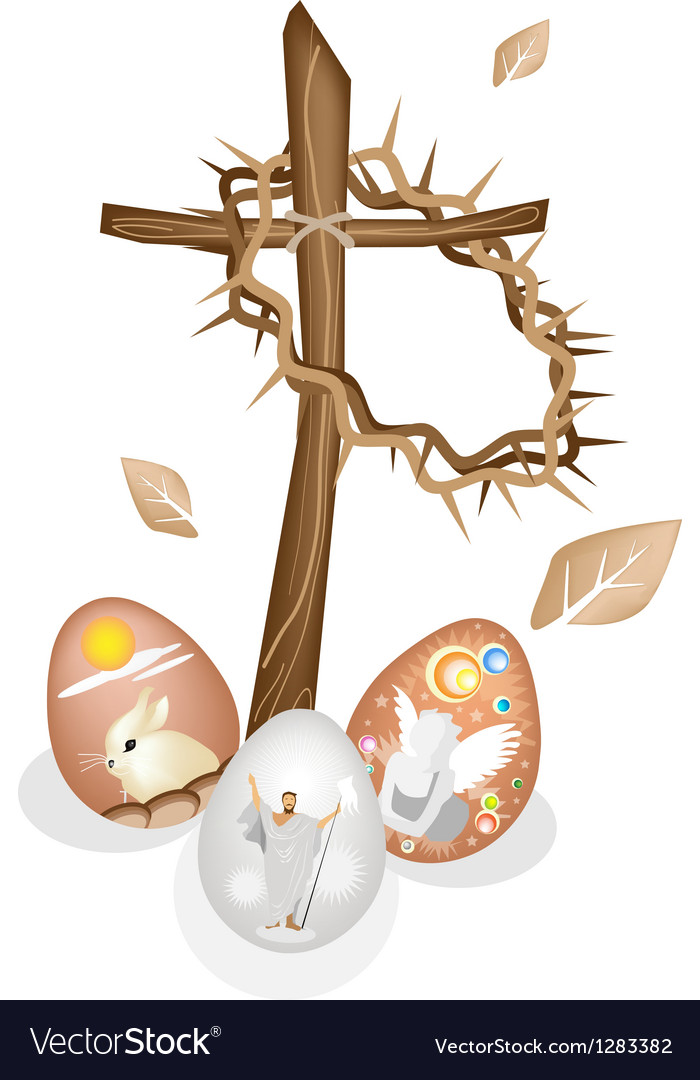 Wooden Cross and A Crown of Thorns with Easter Egg