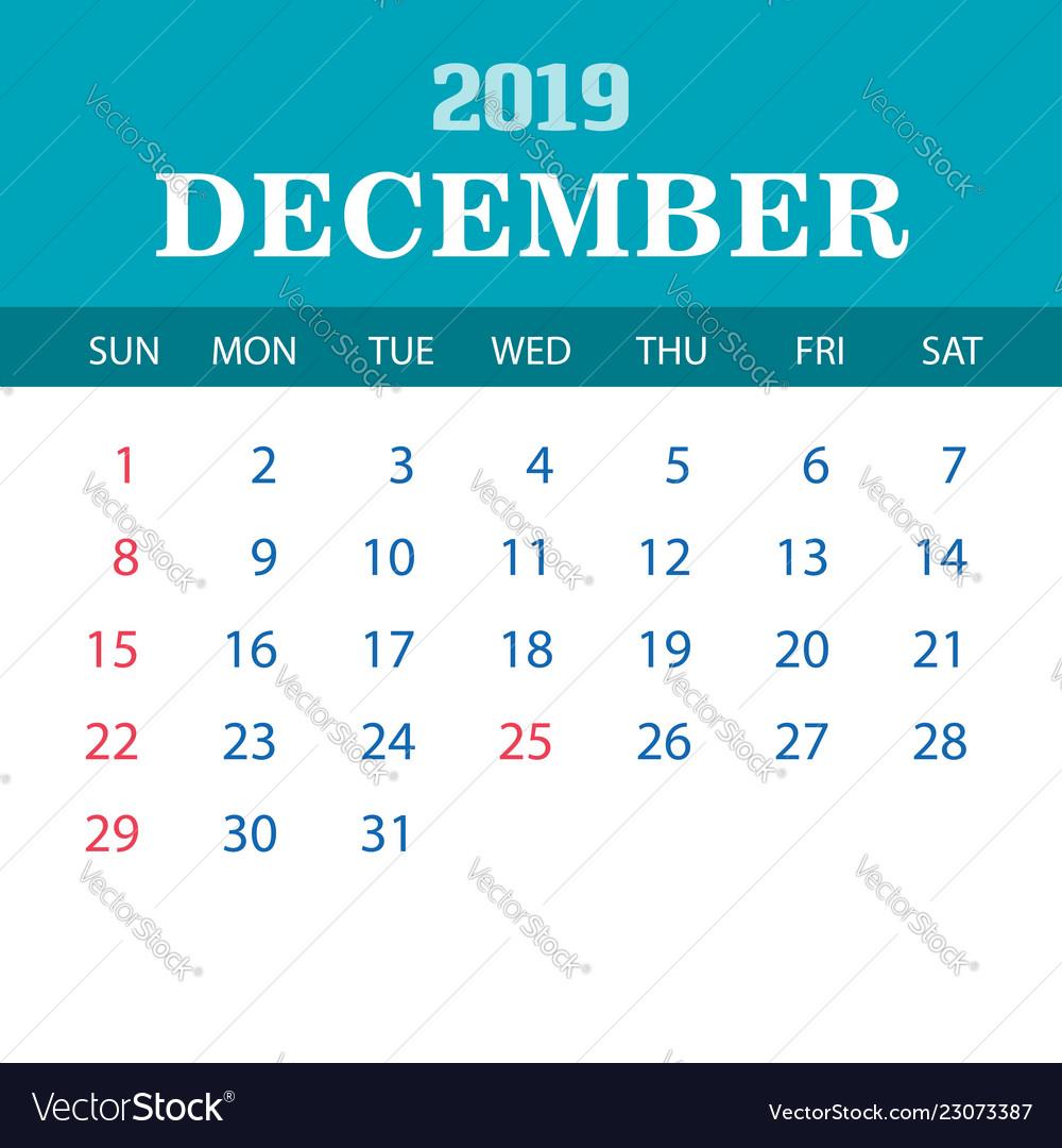 2019 calendar template - december