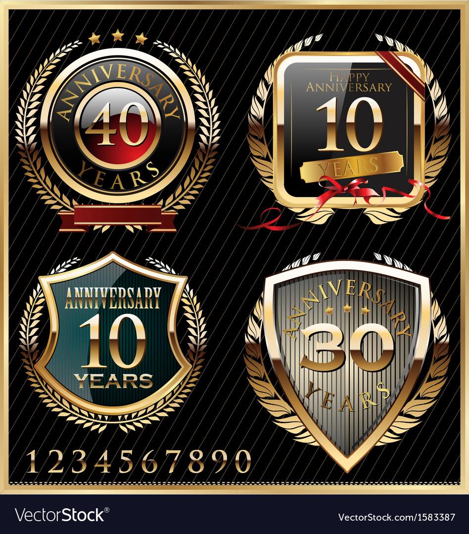 Anniversary golden labels vector image