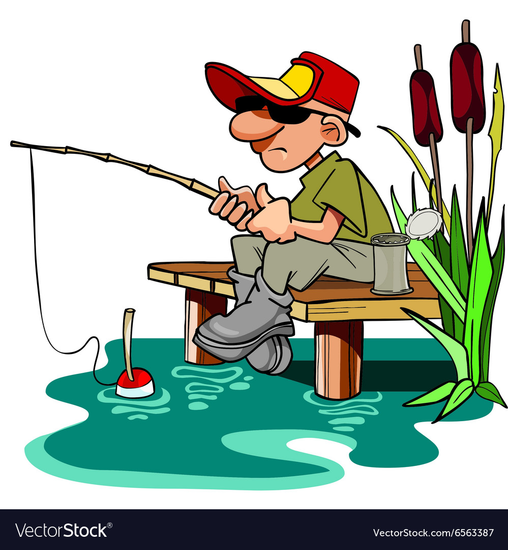 Cartoon fisherman with a fishing pole sitting