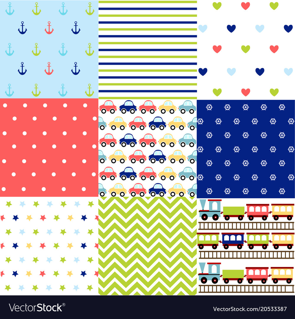 23ee396ee Cute set of baby boy seamless patterns with fabric vector image
