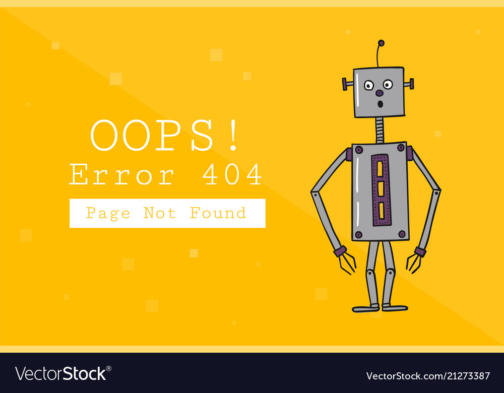 error 404 page not found design template with vector image
