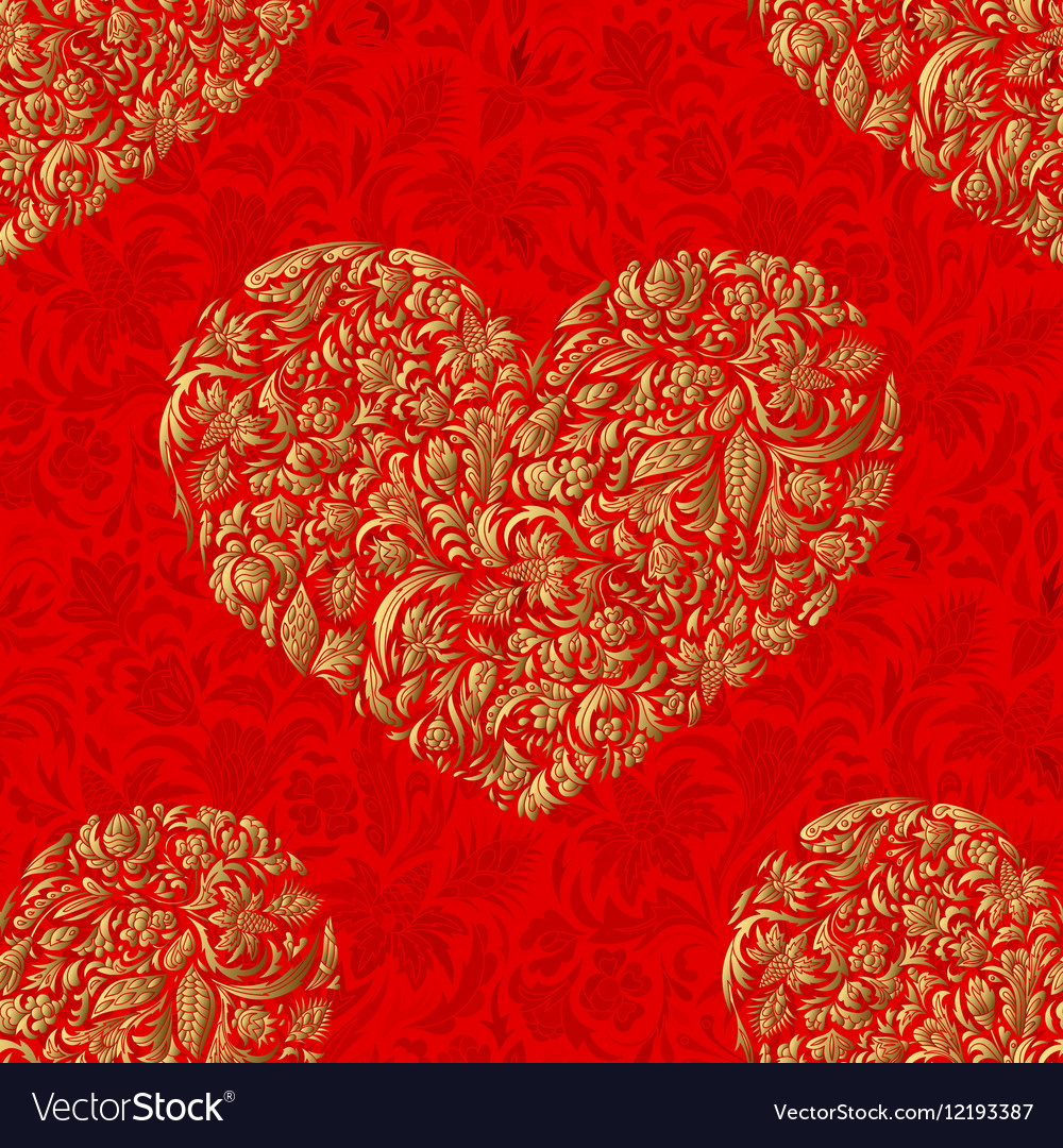 Fine seamless pattern with ornate hearts