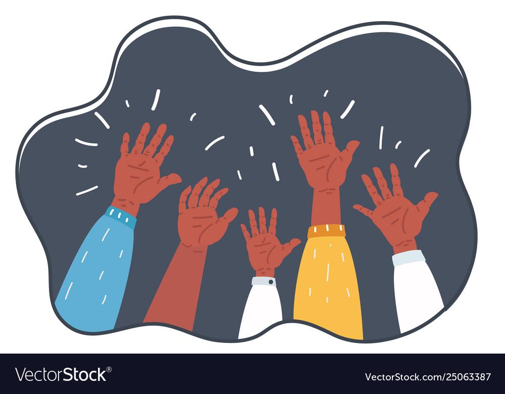 Hands raised up symbol freedom choice fun