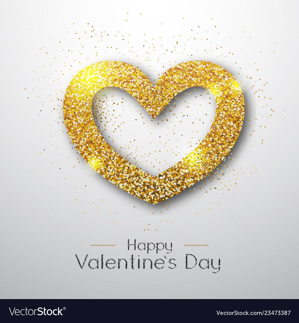 Happy valentines day poster golden sparkle heart