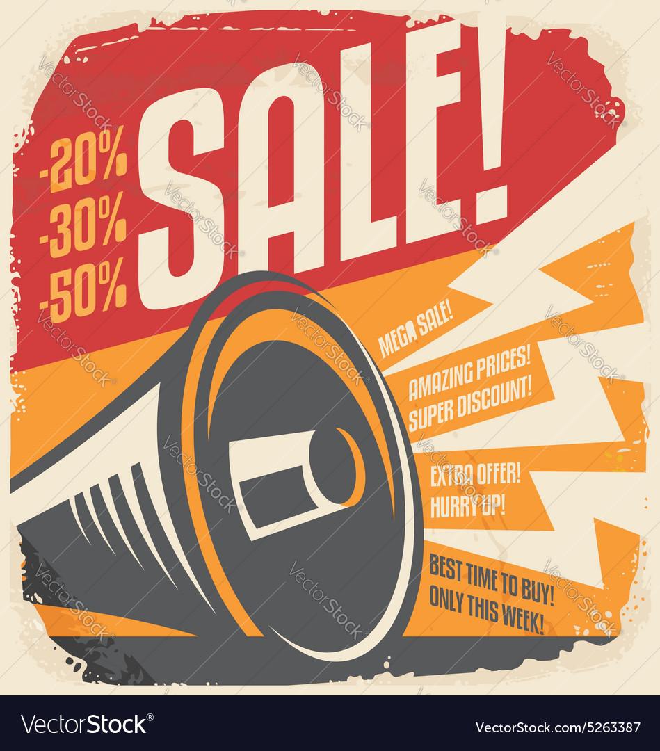 Retro sale poster design concept