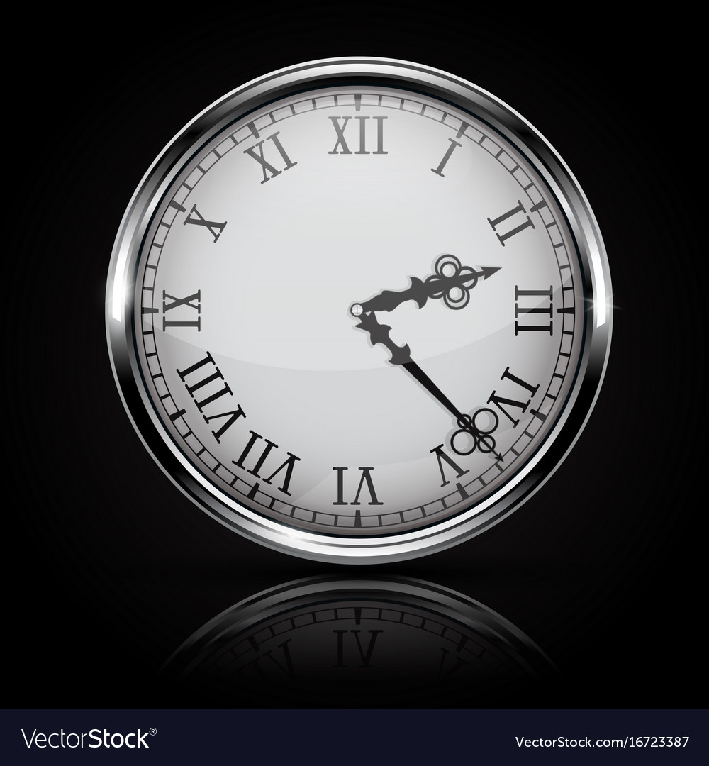Round white clock with roman numerals on black