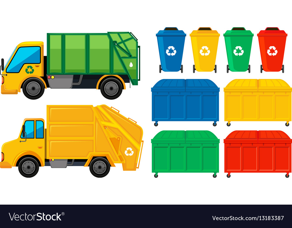 Rubbish trucks and cans in many colors vector image