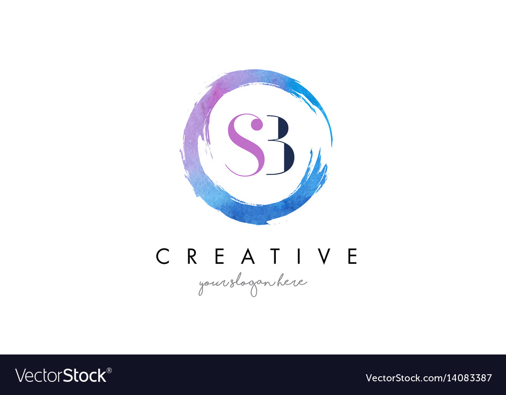 Sb letter logo circular purple splash brush vector image