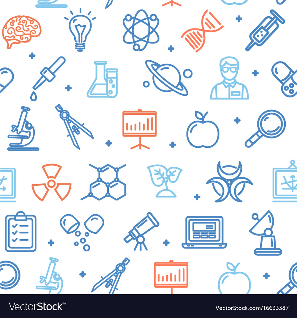 Science research flat pattern with thin line icons