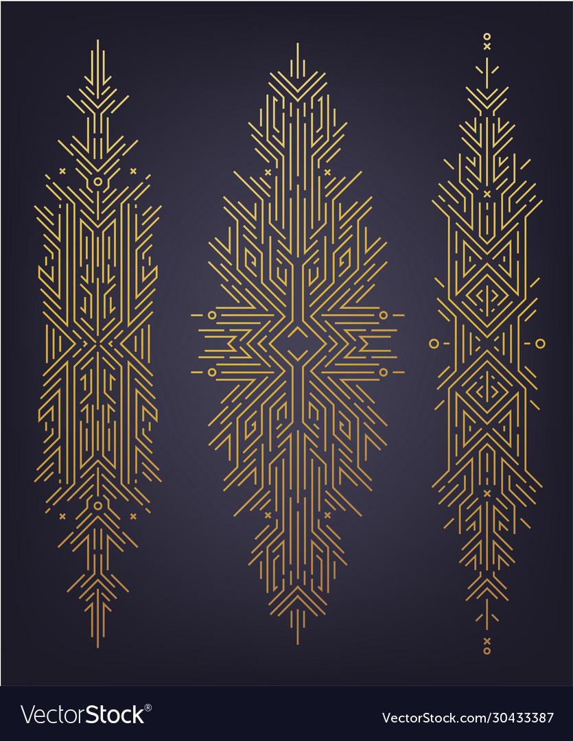 Set abstract linear shapes golden art