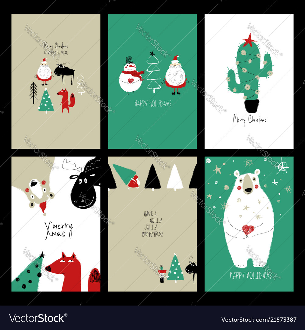 Set Of Retro Funny Christmas Cards Royalty Free Vector Image