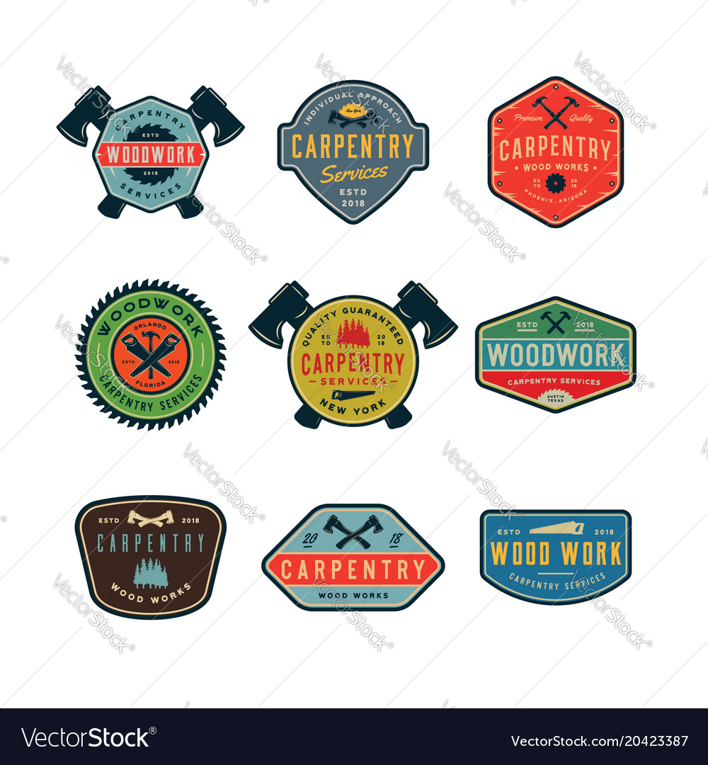 Set of vintage carpentry logos