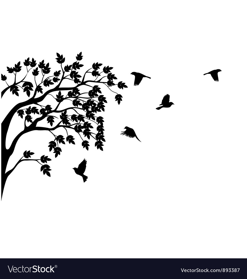 Silhouette of tree and bird isolated