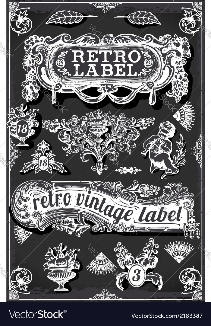 Vintage Blackboard with Banners and Labels